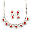 Bridal/ Wedding/ Prom Delicate Red/ Clear Austrian Crystal Necklace And Drop Earrings Set In Silver Tone - 36cm L/ 6cm Ext