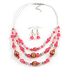 Pink/ Transparent Glass & Ligth Brown Ceramic Bead Multi Strand Wire Necklace & Drop Earrings Set In Silver Tone - 48cm L/ 4cm Ext