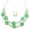 Lime Green Shell & Glass, Crystal Floating Bead Necklace & Drop Earring Set - 46cm L/ 4cm Ext
