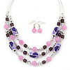 Pink/ Purple/ Violet Glass & Enamel Bead Multi Strand Wire Necklace & Drop Earrings Set In Silver Tone - 44cm L/ 3cm Ext