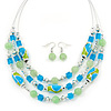 Mint/ Olive/ Light Blue Glass & Enamel Bead Multi Strand Wire Necklace & Drop Earrings Set In Silver Tone - 44cm L/ 3cm Ext