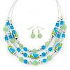 Mint/ Olive/ Light Blue Glass & Enamel Bead Multi Strand Wire Necklace & Drop Earrings Set In Silver Tone - 44cm L/ 3cm Ext