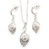 Clear Crystal, White Glass Pearl Calla Lily Pendant with Chain and Drop Earrings Set In Rhodium Plated Metal - 40cm L/ 5cm Ext, 45mm L (Earrings)