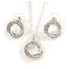 Clear Austrian Crystal Open Circle Pendant With Silver Tone Chain and Stud Earrings Set - 37cm L/ 6cm Ext - Gift Boxed