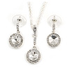 Round Cut Clear Glass Pendant With Silver Tone Chain and Drop Earrings Set - 38cm L/ 5cm Ext - Gift Boxed