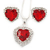 Red/ Clear Crystal Heart Pendant with Silver Tone Chain and Stud Earrings Set - 44cm L/ 6cm Ext