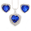 Blue/ Clear Crystal Heart Pendant with Silver Tone Chain and Stud Earrings Set - 44cm L/ 6cm Ext
