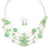 Light Green Shell & Crystal Floating Bead Necklace & Drop Earring Set - 52cm L/ 5cm Ext
