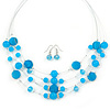 Light Blue Shell & Crystal Floating Bead Necklace & Drop Earring Set - 52cm L/ 5cm Ext
