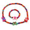 Children's Multicoloured Butterfly Wooden Flex Necklace & Flex Bracelet Set