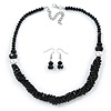 Black Glass Crystal Bead Twisted Multi Strand Necklace and Drop Earrings In Silver Tone - 47cm L/ 7cm Ext