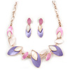Delicate Matt Enamel Leaf Necklace & Drop Earrings In Rose Gold Tone Metal (Purple/ Pink/ White) - 39cm L/ 8cm Ext - Gift Boxed