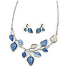 Romantic Blue/ White Enamel, Resin Leaf Necklace & Stud Earrings In Silver Tone Metal - 40cm L/ 8cm Ext - Gift Boxed