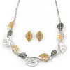 Delicate Gold/ Silver/ Grey Matt Enamel Leaf Necklace & Stud Earrings In Silver Tone Metal - 40cm L/ 8cm Ext - Gift Boxed