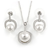 Clear Austrian Crystal Faux Glass Pearl Pendant with Silver Tone Chain and Drop Earrings Set - 40cm L/ 5cm Ext - Gift Boxed