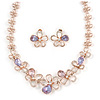 Romantic Pink/ Amethyst Crystal Open Flower Necklace & Stud Earrings In Rose Gold Metal - 40cm L/ 9cm Ext - Gift Boxed