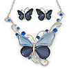 Romantic Glass, Crystal Blue Butterfly Necklace & Stud Earrings In Silver Tone Metal - 40cm L/ 8cm Ext - Gift Boxed