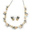 3 Tone Romantic Matt Enamel Butterfly Necklace & Stud Earrings In Rhodium Plated Metal - 40cm L/ 7cm Ext - Gift Boxed