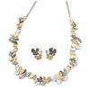 3 Tone Romantic Matt Enamel Butterfly Necklace & Stud Earrings In Rhodium Plated Metal - 40cm L/ 7cm Ext - Gift Boxed