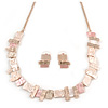 Geometric Multi Square Textured Necklace & Stud Earrings In Gold Tone (Matt Gold/ Pastel Pink) - 39cm L/ 8cm Ext - Gift Boxed