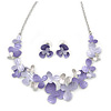 Romantic Matt Purple, Lavender Enamel Textured Floral Necklace & Stud Earrings In Rhodium Plated Metal - 39cm L/ 7cm Ext - Gift Boxed