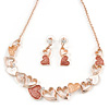 Romantic Matt Beige/ Orange Heart Necklace &  Drop Earrings In Rose Gold Metal - 39cm L/ 7cm Ext - Gift Boxed