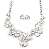 Romantic White Matt Enamel 3D Floral Necklace & Stud Earrings In Rhodium Plating - 40cm L/ 8cm Ext - Gift Boxed