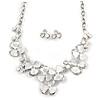 Romantic White Matt Enamel 3D Floral Necklace & Stud Earrings In Rhodium Plating - 40cm L/ 8cm Ext - Gift Boxed