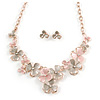 Romantic Pastel Pink/ Beige Matt Enamel 3D Floral Necklace & Stud Earrings In Rose Gold Metal - 40cm L/ 8cm Ext - Gift Boxed