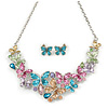 Glittering Multicoloured Enamel, Clear Crystal Multi Butterfly Necklace and Stud Earrings Set In Rhodium Plating - 42cm L/ 7cm Ext