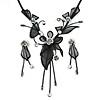Exquisite Y-Shape Metallic Silver Rose Necklace & Drop Earring Set In Black Metal - 38cm L/ 7cm Ext