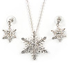 Clear Austrian Crystal Snowflake Pendant With Silver Tone Chain and Drop Earrings Set - 46cm L/4cm Ext - Gift Boxed