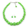 Apple Green Acrylic Bead Choker Style Necklace And Stud Earring Set In Silver Tone - 38cm L/ 5cm Ext