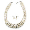 3 Strand Light Cream Simulated Glass Pearl with Crystal Ring Necklace & Drop Earrings Set In Silver Plated Metal - 50cm L/ 5cm Ext