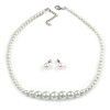 White Graduated Glass Faux Pearl Necklace & Drop Earrings Set In Silver Plating - 44cm L/ 4cm Ext