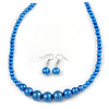 Electric Blue Graduated Glass Bead Necklace & Drop Earrings Set In Silver Plating - 44cm L/ 4cm Ext