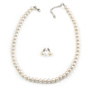 8mm Cream Faux Pearl Glass Bead Necklace and Stud Earrings Set with Silver Tone Closure - 40cm L/ 4cm Ext