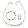 5mm, 7mm White Faux Glass Pearl/Crystal Bead Necklace, Flex Bracelet & Drop Earrings Set In Silver Plating - 42cm L/ 5cm Ext