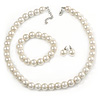 12mm Cream Faux Glass Pearl Bead Necklace, Flex Bracelet & Stud Earrings Set In Silver Plating - 46cm L/ 5cm Ext