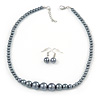 Grey Graduated Glass Bead Necklace & Drop Earrings Set In Silver Plating - 44cm L/ 4cm Ext