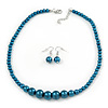 Teal Graduated Glass Bead Necklace & Drop Earrings Set In Silver Plating - 44cm L/ 4cm Ext