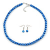 8mm Blue Glass Bead Necklace and Drop Earrings with Silver Tone Closure - 45cm L/ 5cm Ext
