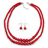 2 Strand Layered Intense Red Graduated Glass Bead Necklace and Drop Earrings Set - 50cm L/ 4cm Ext