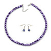 8mm Purple Glass Bead Necklace and Drop Earrings with Silver Tone Closure - 45cm L/ 5cm Ext