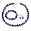 10mm Deep Purple Glass Bead Necklace, Flex Bracelet & Drop Earrings Set In Silver Plating - 42cm L/ 5cm Ext
