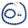 10mm Navy Blue Glass Bead Necklace, Flex Bracelet & Drop Earrings Set In Silver Plating - 42cm L/ 5cm Ext