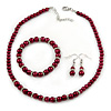 6mm, 8mm Cranberry Red Glass/ Crystal Bead Necklace, Flex Bracelet & Drop Earrings Set In Silver Plating - 42cm L/ 5cm Ext