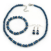 6mm, 8mm Inky Blue Glass/ Crystal Bead Necklace, Flex Bracelet & Drop Earrings Set In Silver Plating - 42cm L/ 5cm Ext
