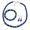 5mm, 7mm Royal Blue Ceramic/ Crystal Bead Necklace, Flex Bracelet & Drop Earrings Set In Silver Plating - 42cm L/ 5cm Ext