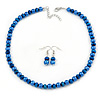 8mm Electric Blue Glass Bead Necklace and Drop Earrings Set In Silver Tone - 40cm L/ 4cm Ext
